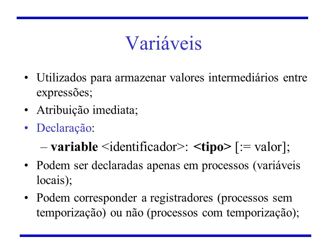 Variáveis variable <identificador>: <tipo> [:= valor];